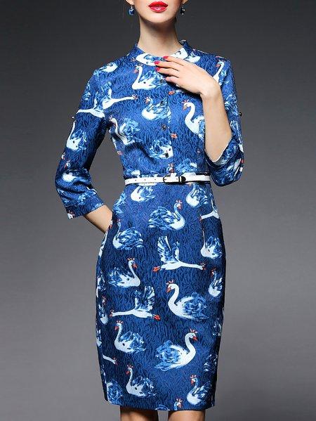 Spandex Buttoned Animal Print 3/4 Sleeve Work Midi Dress