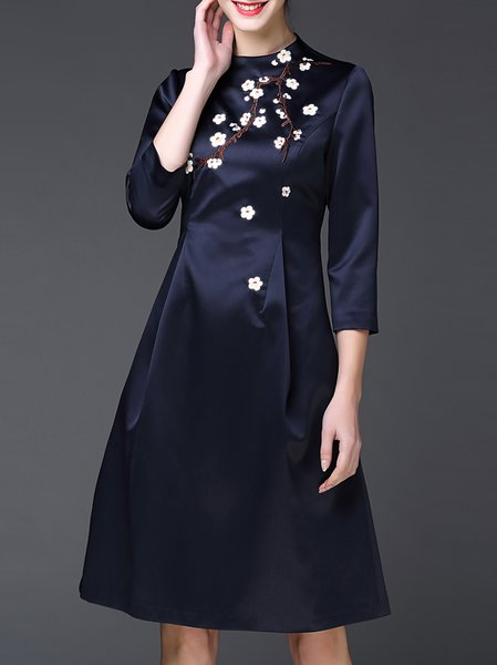 Dark Blue Crew Neck Embroidered Vintage Polyester Midi Dress