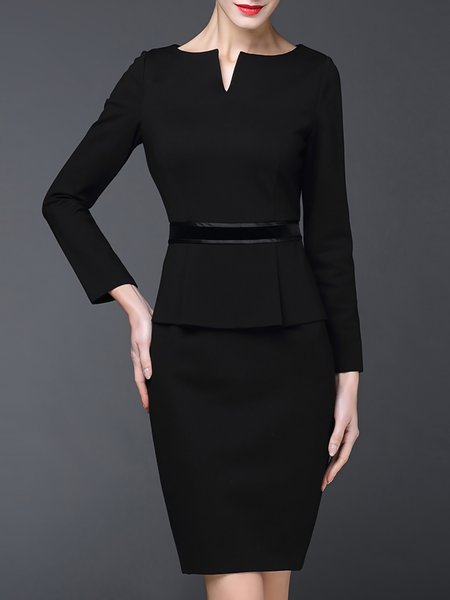 Long Sleeve V Neck Elegant Sheath Cotton Mini Dress