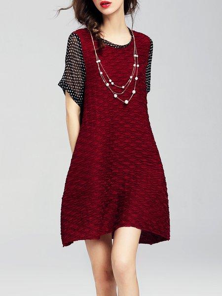 Cotton Short Sleeve Paneled Crew Neck Casual Mini Dress