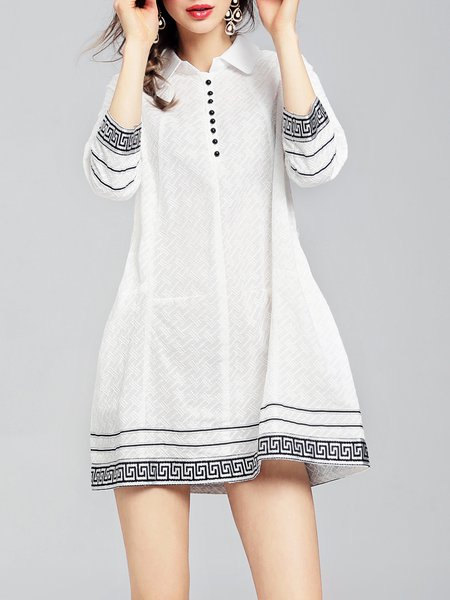 White Casual Cotton Buttoned Shirt Collar Mini Dress