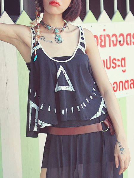 Black Plunging Neck Sleeveless Cotton-blend Tribal Tank