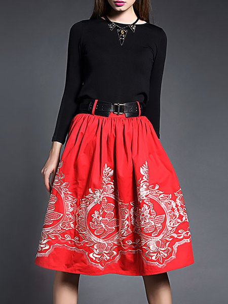 Red Casual Floral Embroidered Midi Dress