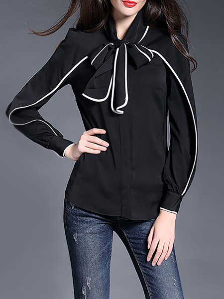 Black Crew Neck Long Sleeve Plain Color-block Blouse