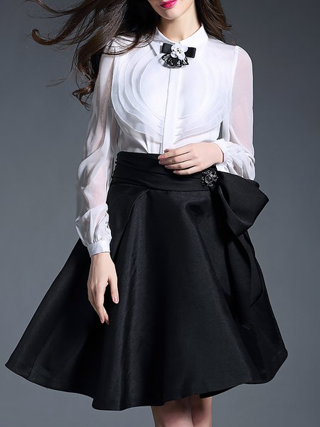 Work Long Sleeve Appliqued Blouse