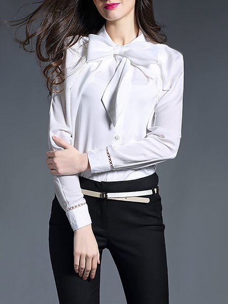White Paneled Work Blouse