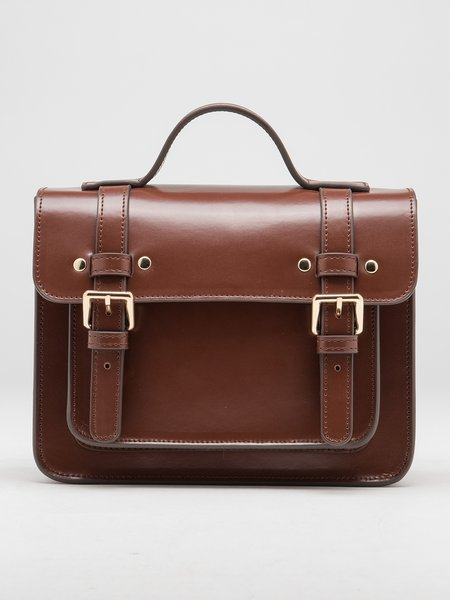 Brown Casual Split Leather Small Satchel