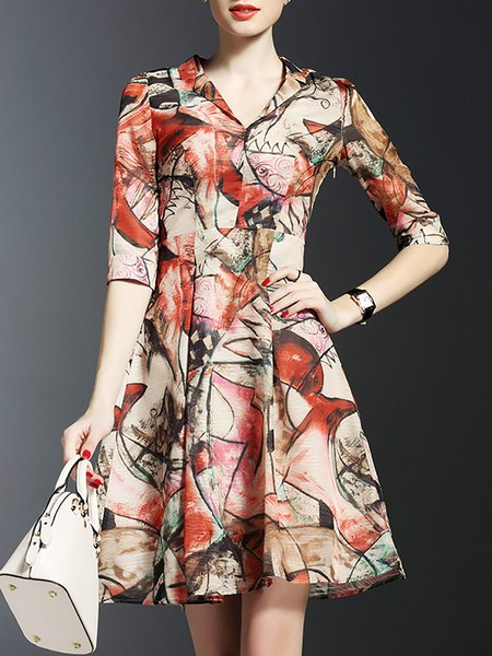 Printed V Neck Abstract Half Sleeve Work Mini Dress