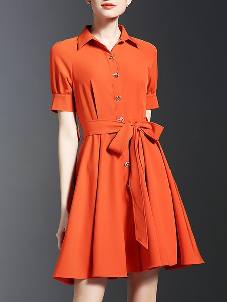 Orange A-line Short Sleeve Shirt Dress withBelt