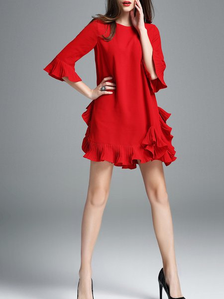 Frill Sleeve Cotton-blend Casual Solid Mini Dress