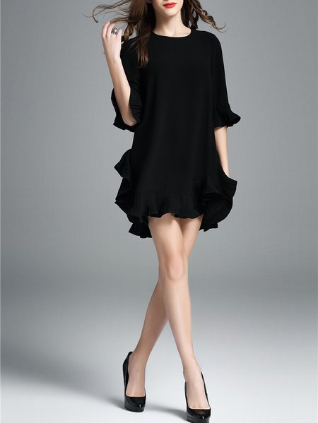Black Cotton-blend Solid Frill Sleeve Mini Dress