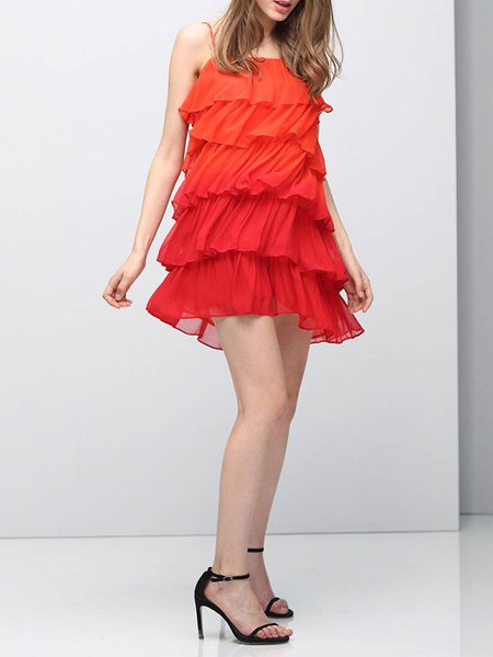 Orange Spaghetti Plain Mini Dress