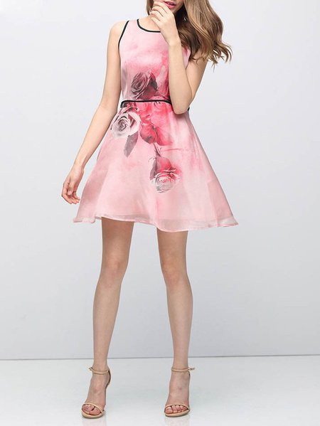 Pink Silk A-line Crew Neck Casual Mini Dress