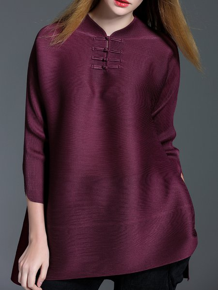 Burgundy Stand Collar H-line 3/4 Sleeve Tunic