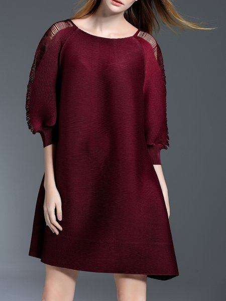 3/4 Sleeve Plain Casual Mini Dres