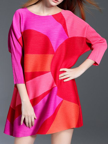 Fuchsia Color-block A-line Casual Crew Neck Tunic