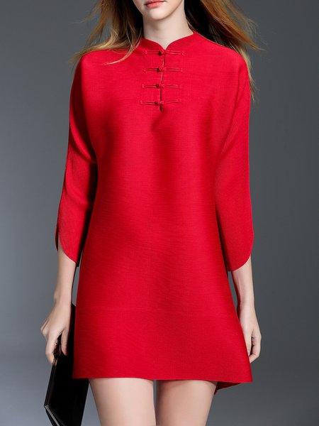 Red Casual H-line Mini Dress