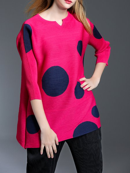 Casual V Neck H-line Polka Dots 3/4 Sleeve Tunic