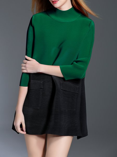 Green 3/4 Sleeve Turtleneck Tunic