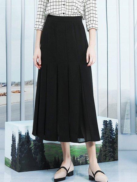 Black Casual Pleated Maxi Skirt