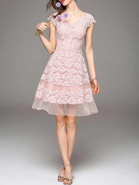 Pink V Neck Paneled Girly Organza Midi Dress