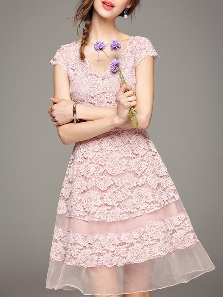 Sweet Organza Short Sleeve Midi Dress