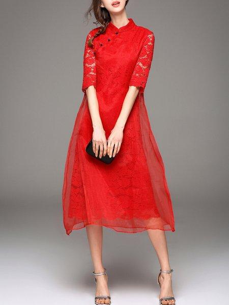 A-line Crew Neck Half Sleeve Elegant Midi Dress