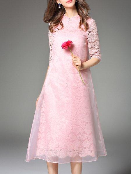 Pink Crew Neck Casual Midi Dress