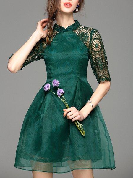 Organza Half Sleeve Paneled Floral Mini Dress
