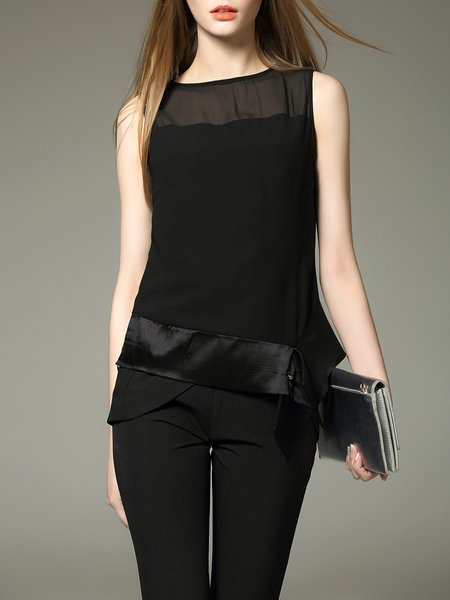 Black Silk Plain Casual Paneled Tank
