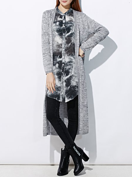 Gray Knitted Long Sleeve H-line Plain Cardigan
