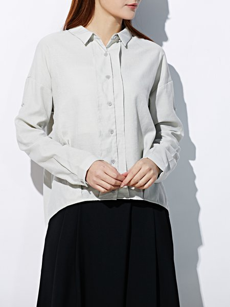 Long Sleeve Plain Simple Blouse