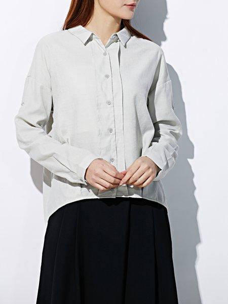 Long Sleeve Plain Simple Blouse