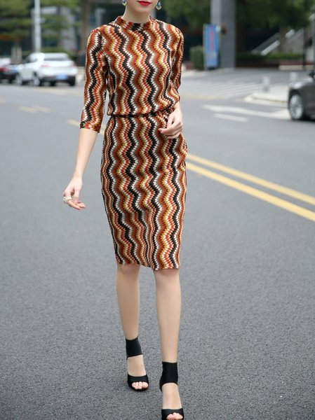 Multicolor Sheath Stripes Half Sleeve Crew Neck Midi Dress