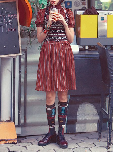 Coffee Balloon Sleeve Stripes Nylon Pleated Midi Dress