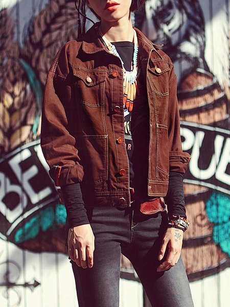 Coffee Shirt Collar Tribal Casual Buttoned Cropped Jacket