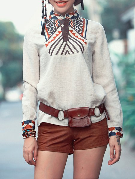 Beige Embroidered Casual Long Sleeved Top