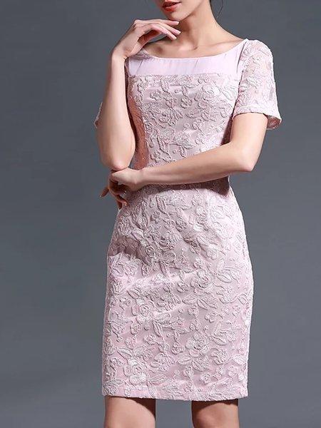 Pink Casual Embroidered Sheath Mini Dress