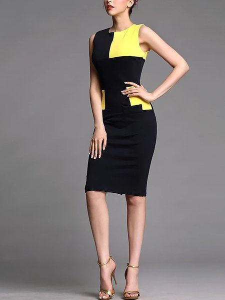 Risultati immagini per Black Crew Neck Color-block Polyester Sleeveless Midi Dress