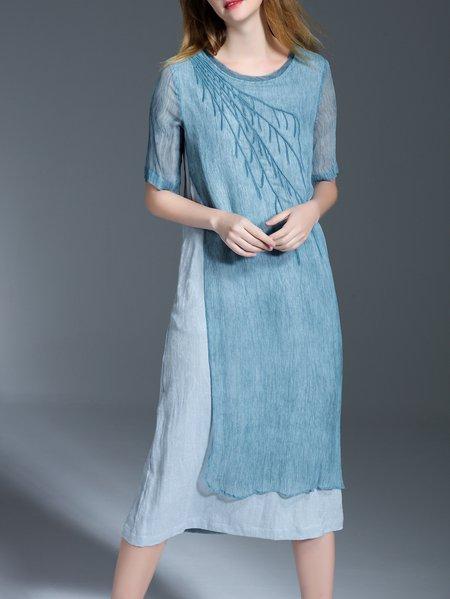 Casual Paneled Half Sleeve Midi Dress