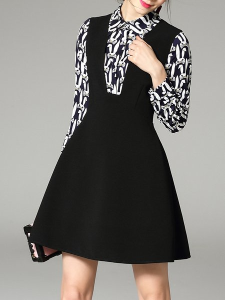 Black Animal Print Long Sleeve Mini Dress