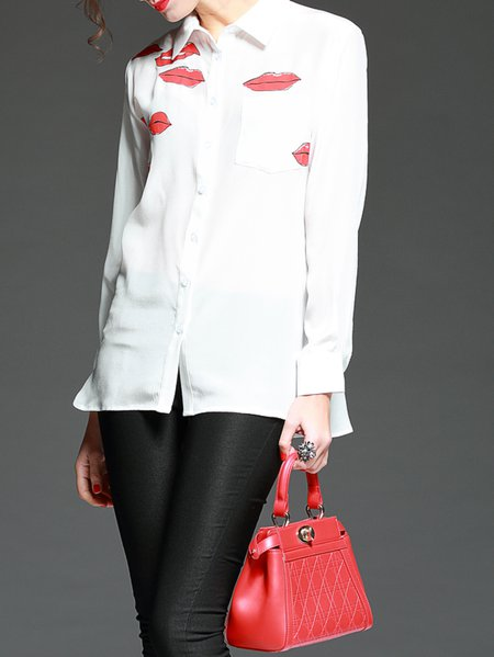 White Printed Silk Casual Blouse