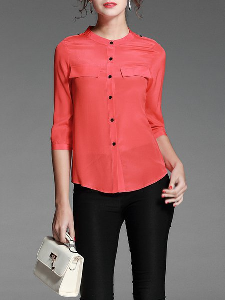 Red Casual Crew Neck Buttoned Plain Blouse