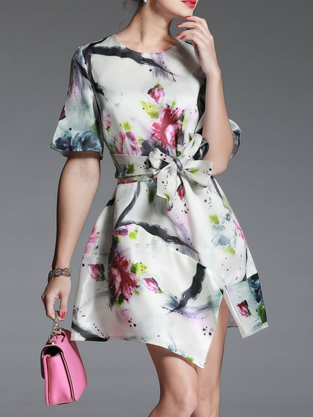 White Short Sleeve Crew Neck Floral-print Mini Dress