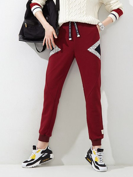 Red Casual Plain Track Pants