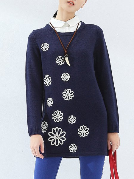 Royal Blue Casual Floral Wool Blend Sweater