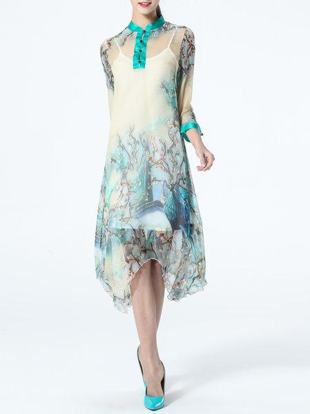 Multicolor Silk 3/4 Sleeve Crew Neck A-line Midi Dress