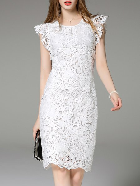 White Polyester Pierced Frill Sleeve Floral Midi Dress