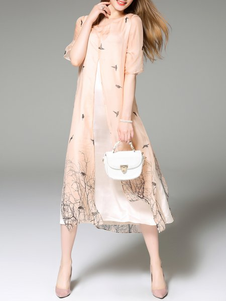 Apricot Casual Crew Neck Printed A-line Midi Dress