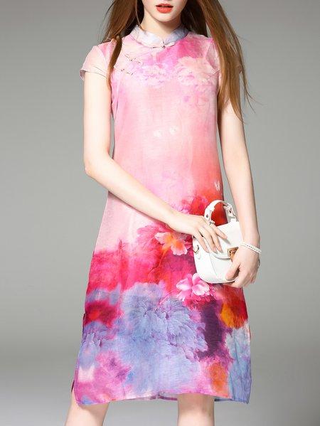Pink Floral Vintage Linen Midi Dress